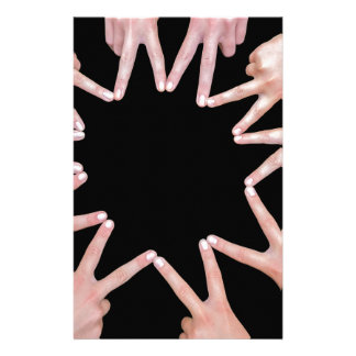 Arms of girls  hands making ten pointed star stationery design