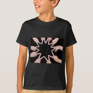 Arms of girls  hands making ten pointed star T-Shirt