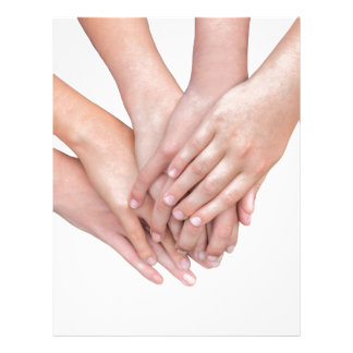 Arms of girls hands on each other letterhead