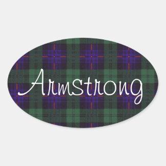 Armstrong clan Plaid Scottish tartan Oval Sticker