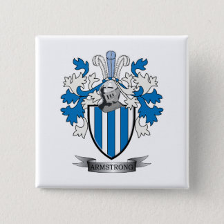 Armstrong Family Crest Coat of Arms 2 Inch Square Button