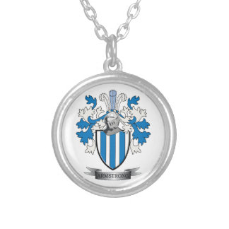 Armstrong Family Crest Coat of Arms Silver Plated Necklace
