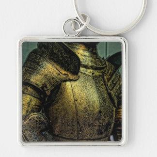 Armure de chevalier médiéval porte-clé carré argenté