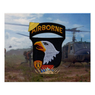 Army 101st ABN Div Screaming Eagles Patch Poster