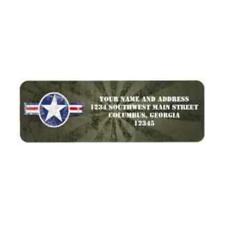 Army Air Corps Vintage Custom Return Address Label