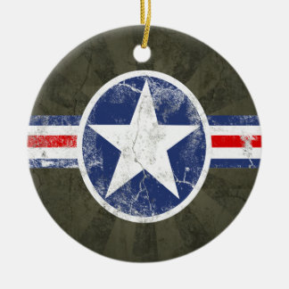 Army Air Corps Vintage Round Ceramic Ornament