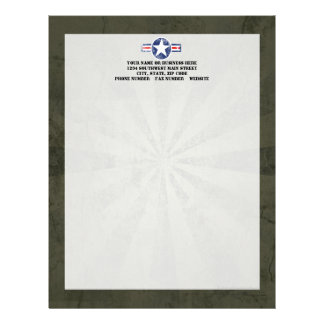 Army Air Corps Vintage Personalized Letterhead