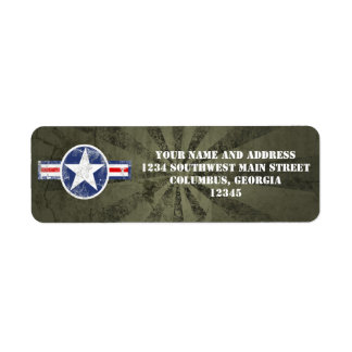 Army Air Corps Vintage Return Address Label