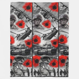 Army, Air Force, Navy Fleece Blanket