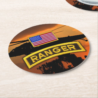 Army airborne rangers ranger veterans vets lrrp round paper coaster