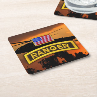Army airborne rangers ranger veterans vets lrrp square paper coaster