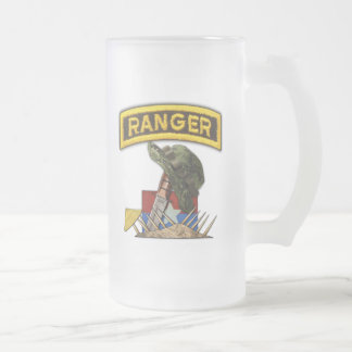 Army Airborne Rangers Veterans Vietnam Nam War Frosted Glass Beer Mug