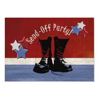 """Army Boots Send-Off Party 5"""" X 7"""" Invitation Card"""