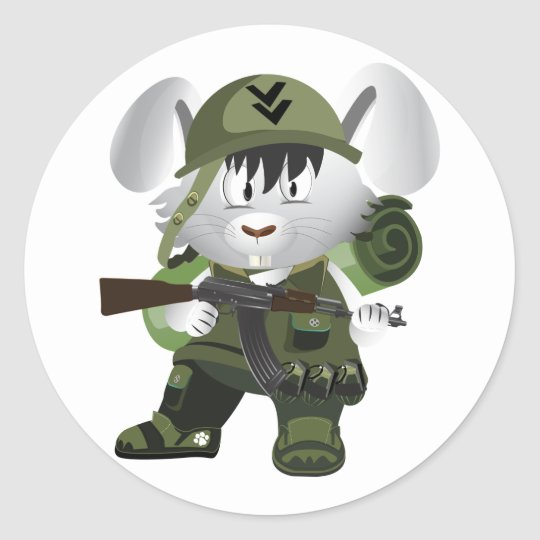 Army Bunny Classic Round Sticker
