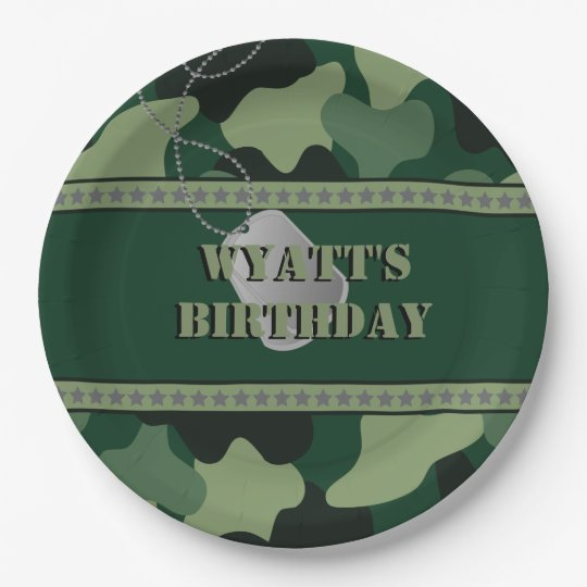 Army, Camo, Birthday 9 Inch Paper Plate