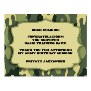 Boys army birthday cards photocards invitations more army camo birthday party thank you note postcard bookmarktalkfo Choice Image