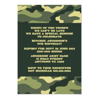 Army Camo Camouflage Birthday Party invitation