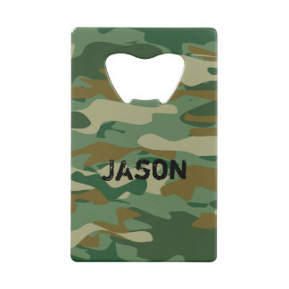 Army camouflage color credit card bottle opener