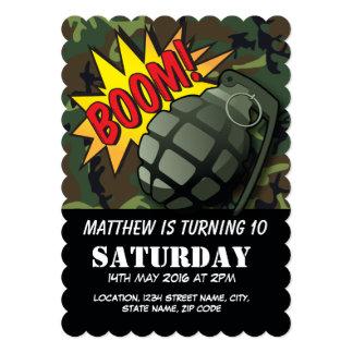"Army Camouflage Comic Grenade Kids Birthday 5"" X 7"" Invitation Card"