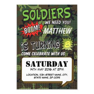 "Army Camouflage Comic Pop Art Kids Birthday 5"" X 7"" Invitation Card"