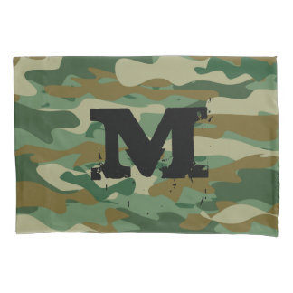 Army camouflage pattern monogrammed pillowcase