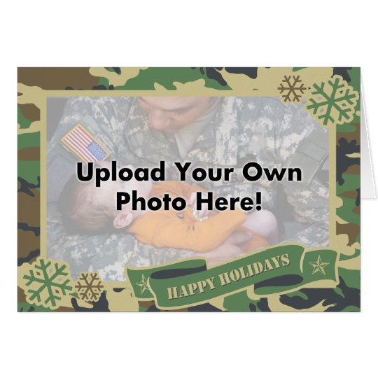 Army Camouflage Photo Template Holiday Card