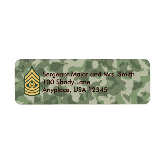 Army Cmd Sergeant Major Camo Address Label