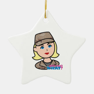 Army Desert Camo Head Blonde.png Ceramic Star Ornament