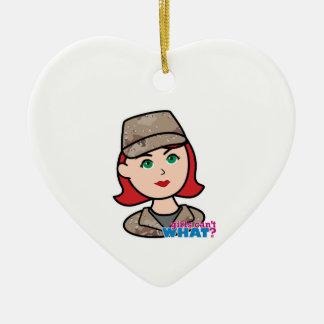 Army Desert Camo Head Red Ceramic Heart Ornament
