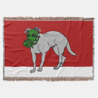 Army Dog Wearing A Gas Mask Throw Blanket