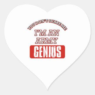 Army genius heart stickers
