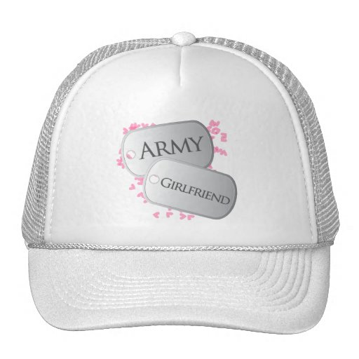 Army Girlfriend Pink Dog Tags Trucker Hat