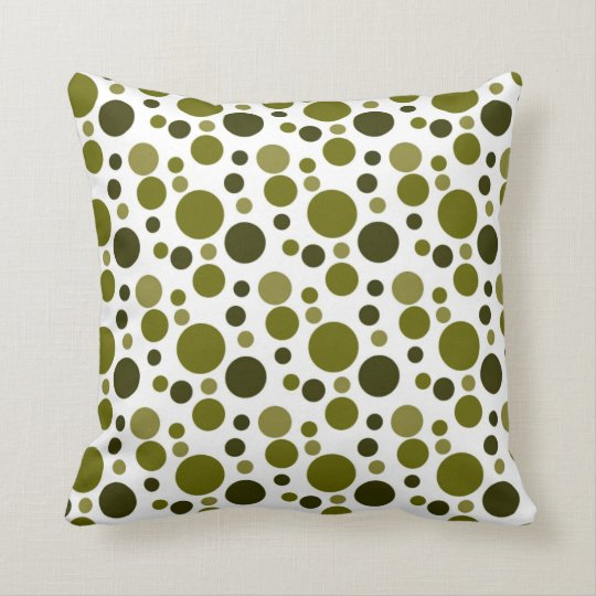 Army Green Bubbles Throw Pillow