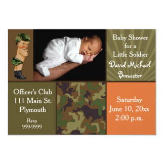 """Army Green Camouflage Photo Baby Shower 5"""" X 7"""" Invitation Card"""
