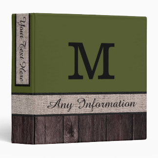 Army Green Color Rustic Look Wood Monogram Vinyl Binder