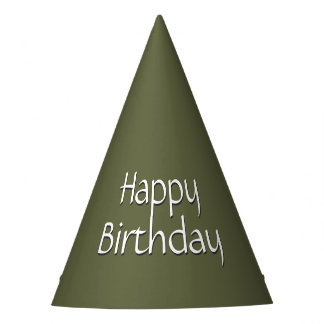 Army Green Happy Birthday Party Hat