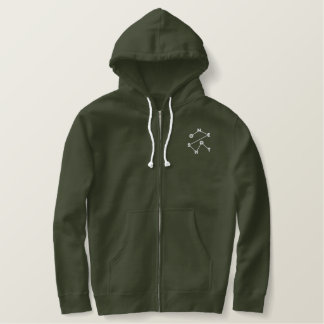 Army Green Men's Embroidered One Shot Zip Hoodie