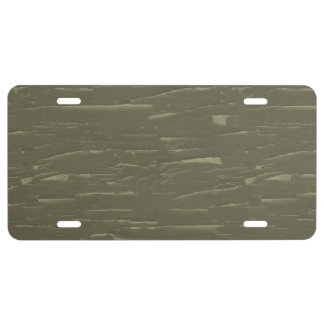 Army Green Tree  Bark License Plate