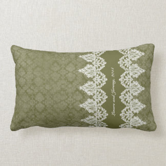 Army Green Vintage Shabby Lace Look Personalized Lumbar Pillow
