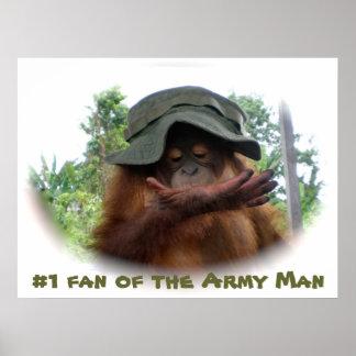 Army Hat cute baby orangutan Poster