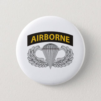 Army Jump Wings W/Tab 2 Inch Round Button