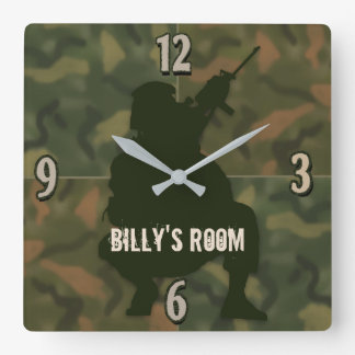 Army Kid's Clock - Camo and soldier-Personalize