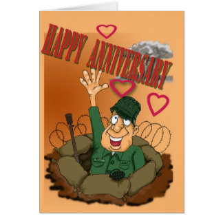 Army Man waiving Happy Anniversary Greeting Card