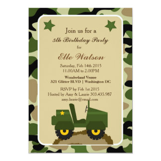 Army Military Camo Birthday Party Invitations