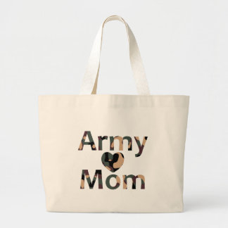 Army Mom Camo Heart Canvas Bag