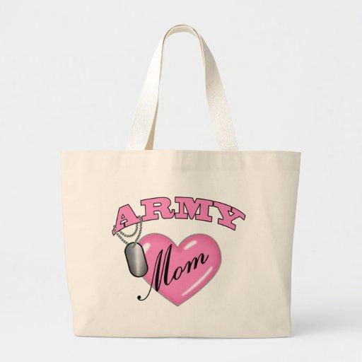 Army Mom Heart N Dog Tag Canvas Bags