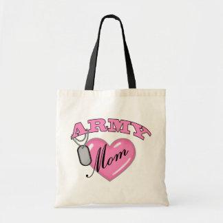Army Mom Heart N Dog Tag Budget Tote Bag