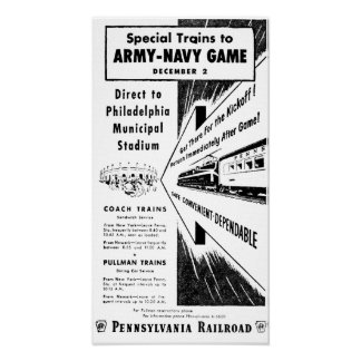 Army-Navy Game Via The Pennsylvania Railroad Poster
