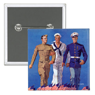 Army, Navy & Marines 2 Inch Square Button