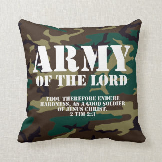 Army of the Lord, Bible Scripture Camo Throw Pillow